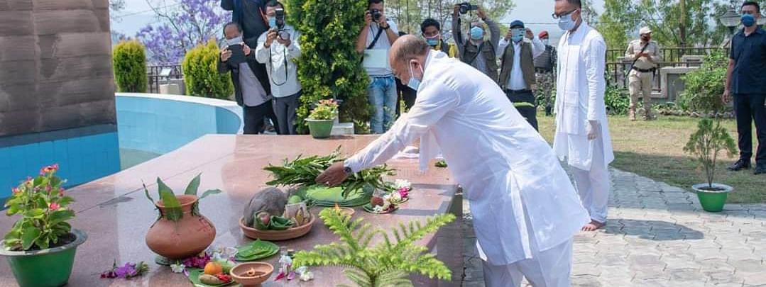 Manipur chief minister N Biren Singh laying floral wreath at Khongjom War Memorial in Thoubal district on Thursday