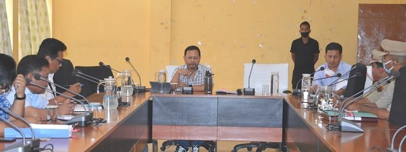 Meghalaya minister for food, civil supplies & consumer affairs James Sangma holding meeting with officials of West Garo hills district administration in Tura on Tuesday