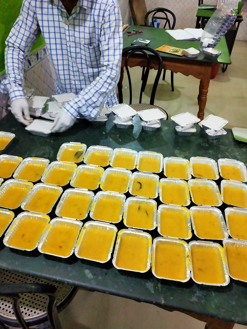 Lunch packet being prepared in a quarantine centres in Assam