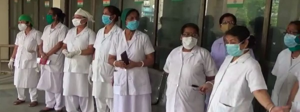 Nurses protesting the shortage of protective gear at GB Pant Hospital in Agartala
