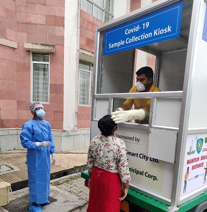 A three-wheeler heavy-duty auto rickshaw that was converted into a COVID-19 sample collection kiosk in Tripura
