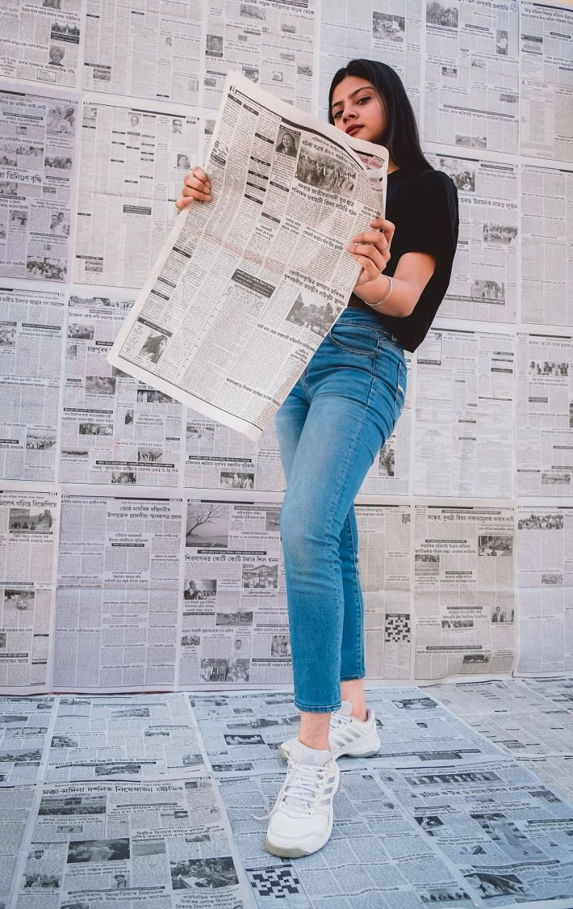 Creating a set using newspapers is just one way to get creative shoots done all while being safe at home