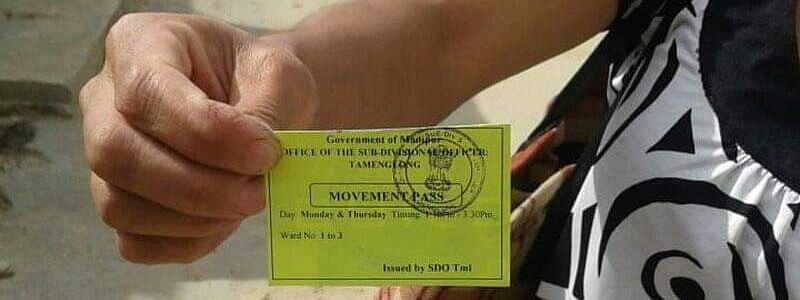 A movement pass is issued to each family to venture out and buy essential items during lockdown in Manipur's Tamenglong district