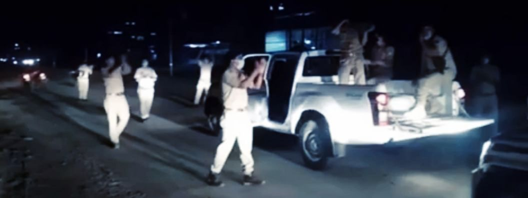 A screen grab of a video in which Dimapur Police can be seen clapping and singing to cheer locals amid lockdown on Wednesday evening