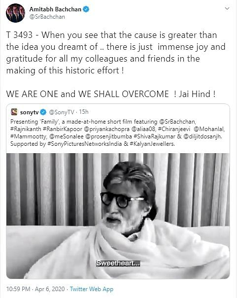"Sharing the video, Bachchan tweeted, ""When you see that the cause is greater than the idea you dreamt of. There is just immense joy and gratitude for all my colleagues and friends in the making of this historic effort! We are one and we shall overcome! Jai Hind!"""