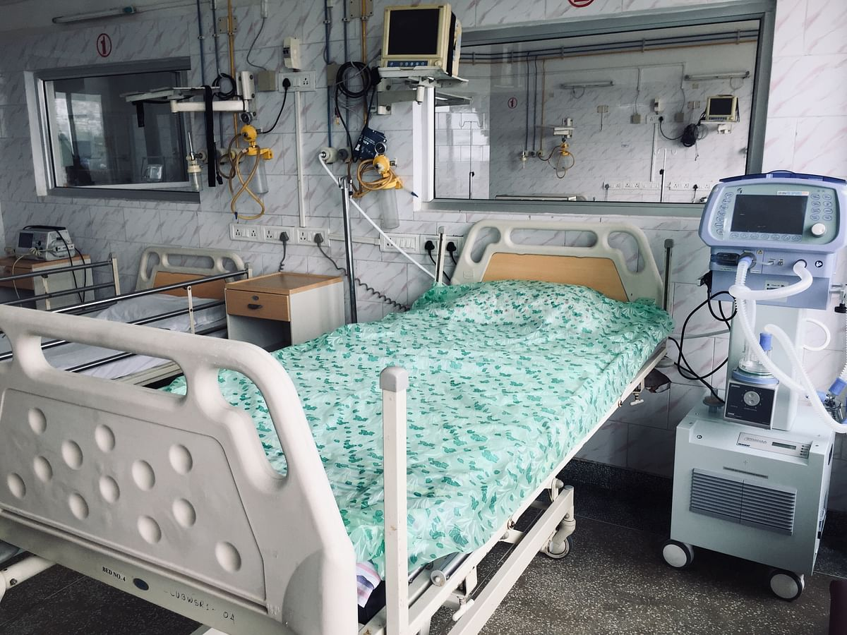 ICU beds being prepared at the NHAK COVID-19 hospital in Kohima