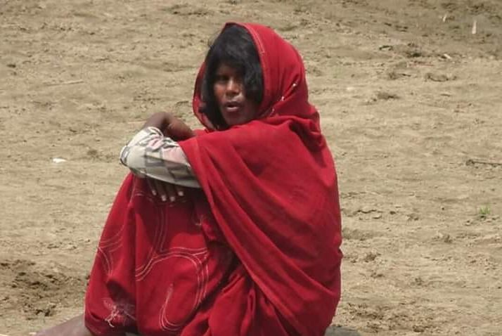 The mentally-challenged woman has been stranded in the 'char' area since April 2