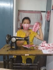 The women instrumental in making masks are paid Rs 15 per mask