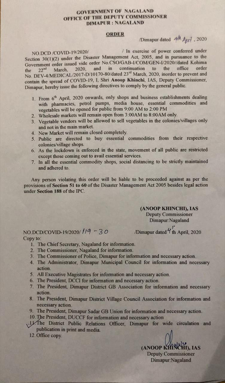 The order that was issued by the deputy commissioner, Dimapur on Saturday