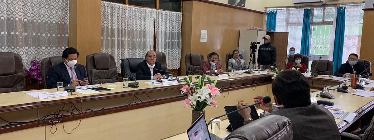 Meghalaya government and Opposition leaders at a meeting concerning COVID-19 crisis on Saturday