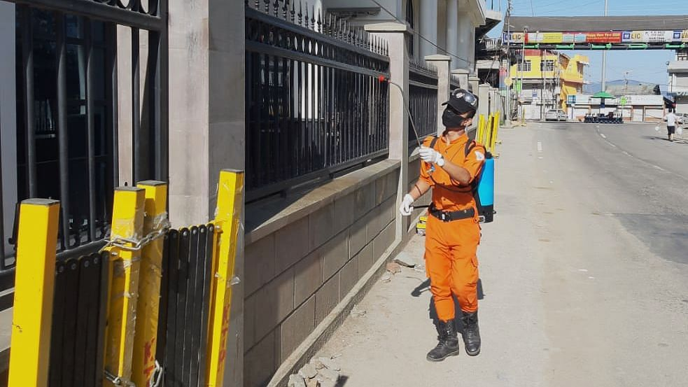 The team sprays disinfectants across all strategic locations including public spaces such as traffic points, pathway railings, bus stands and foot overbridges