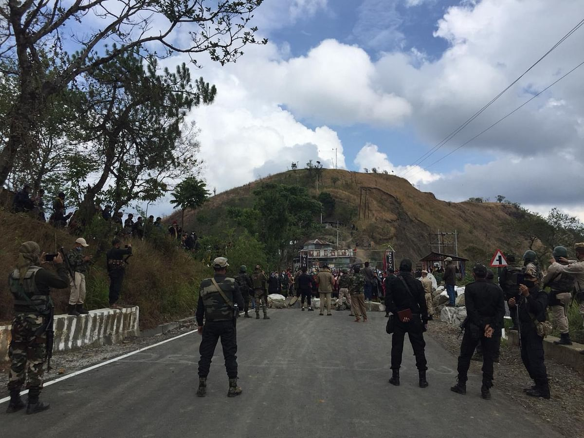 Security personnel on the Thoubal-Kasom road