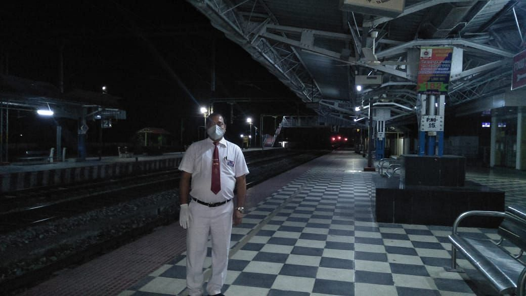 Station master Dilip Kumar Labh at the desolate Barpeta Road railway station in Assam during the COVID-19 lockdown