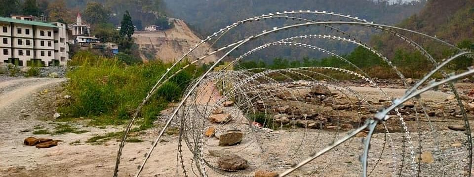 Concertina wires at state border to prevent trespassing of people into Sikkim