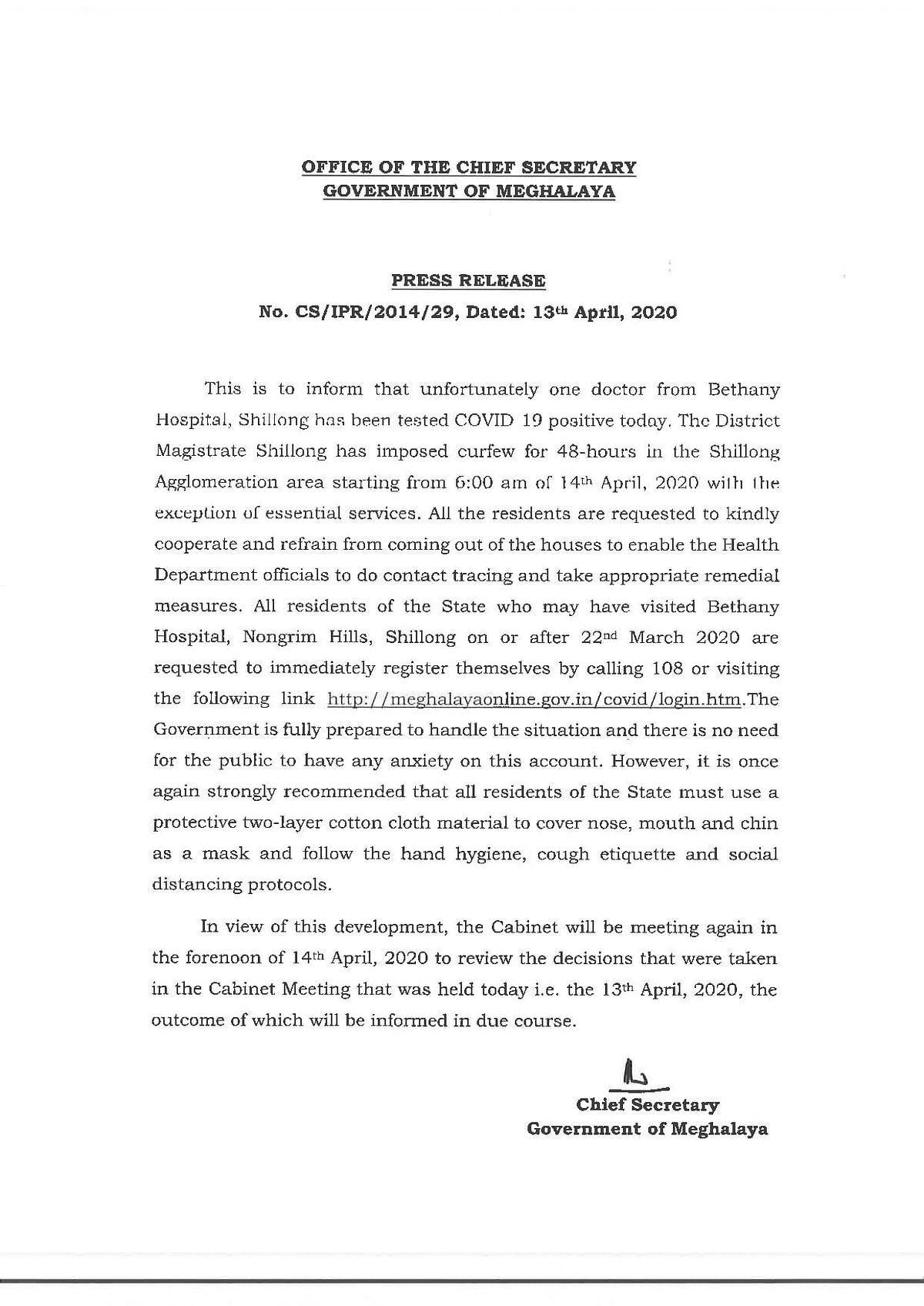Press release issued by the chief secretary of Meghalaya on Monday