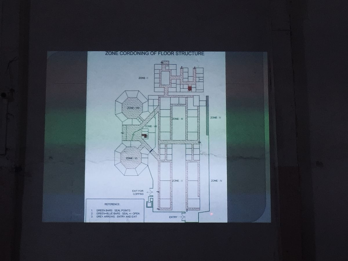 A screen grab of the virtual presentation of the floor plan of the NHAK COVID-19 hospital