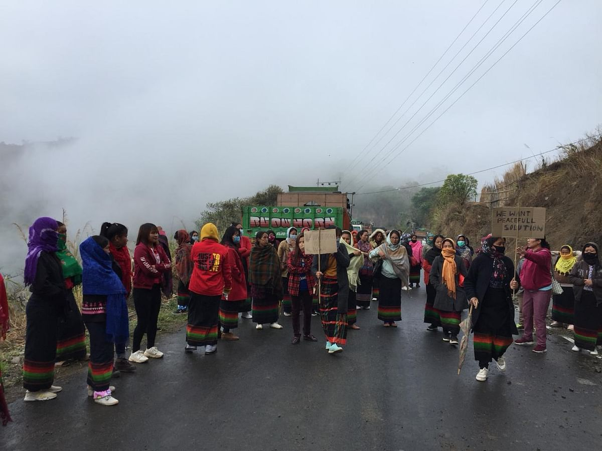Around 300 women of Kashung Bungdung came out of their homes and stopped the troops from crossing the village to avoid any unwanted incidents to take place