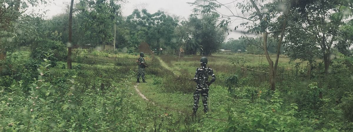 Security forces on duty along the disturbed area belt at Ralan area in Nagaland's Wokha district