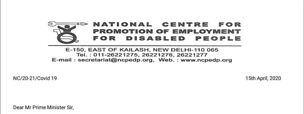 The letter by the executive director of NCPEDP Arman Ali to Prime Minister Narendra Modi