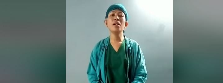 Bethany Hospital nurse Gwen Zoelie takes a small break to sing 'The prayer' in Meghalaya