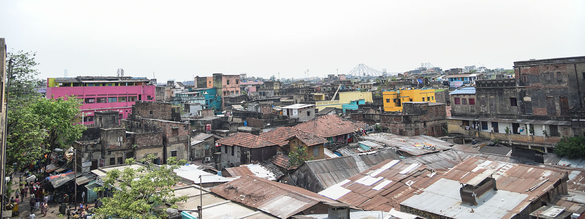 Panoramic view of Sonagachi, South Asia'slargest brothel in Kolkata. Over 12,000 sex workers struggling to survive here due to lockdown