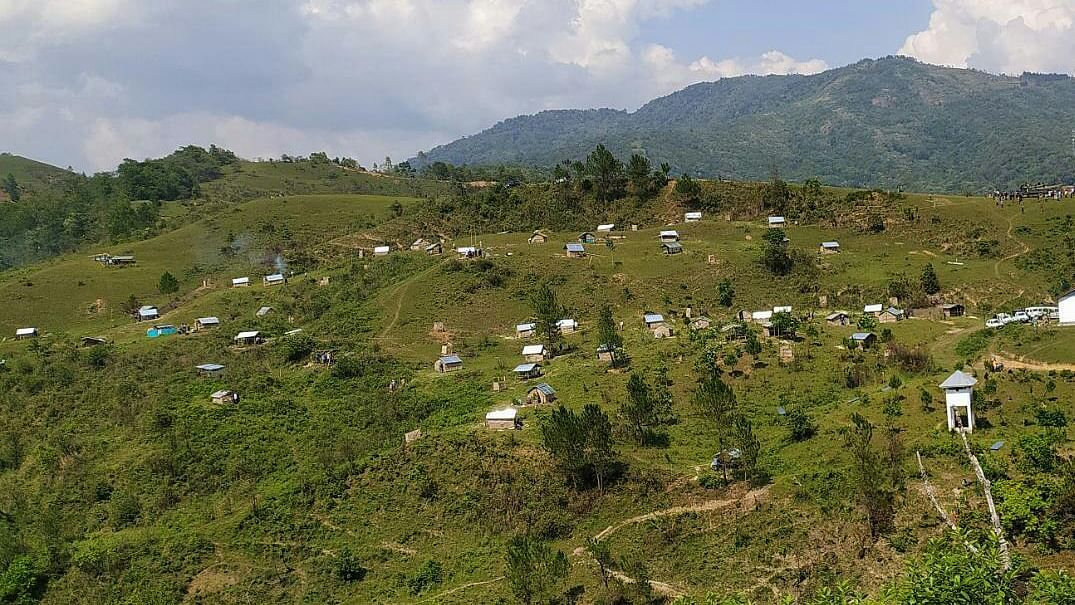 A view of the community quarantine center beng set up at Tungjoy village in Senapati district in Manipur