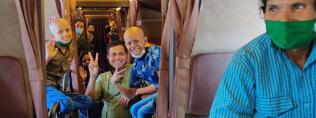 A total of 65 cancer patients, 6 children and 82 attendees came in the bus journey
