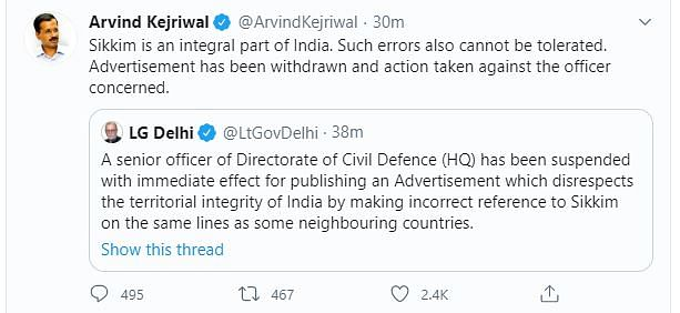 Twitter messages of  Lieutenant Governor of Delhi and chief minister of Delhi
