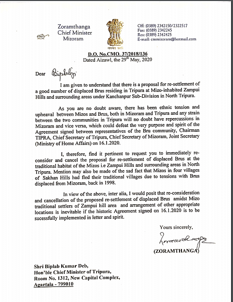 The letter addressed to Tripura chief minister Biplab Kumar Deb by Mizoram chief minister Zoramthanga on Friday