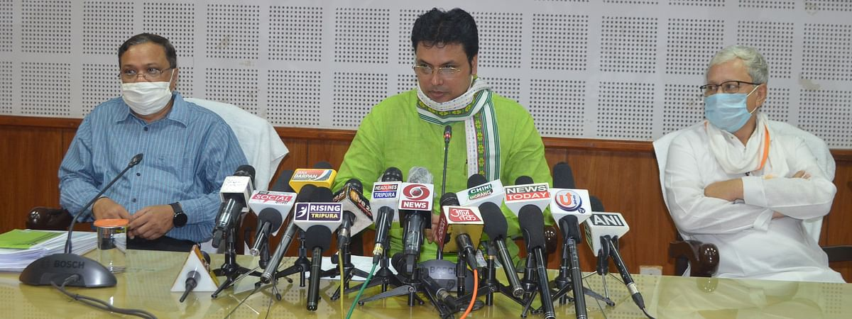 Tripura chief minister Biplab Kumar Deb addressing a press conference in Agartala civil secretariat on Friday
