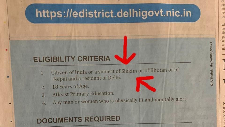Senior Delhi officer suspended for ad that shows Sikkim as country