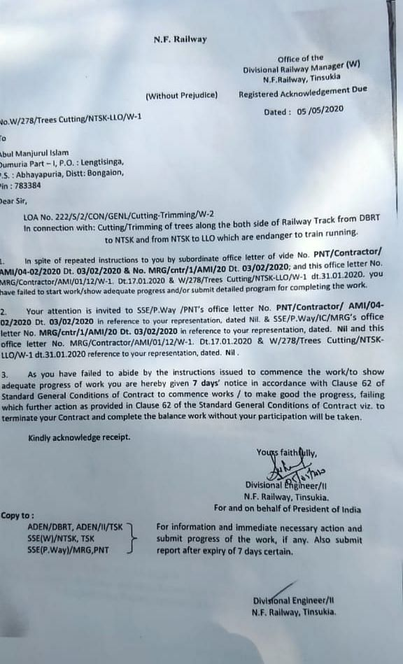 The letter which allowed them to report immediately and to cut and chop trees on both sides of the railway tracks from the office of the Divisional Railway Manager, NF Railway, Tinsukia