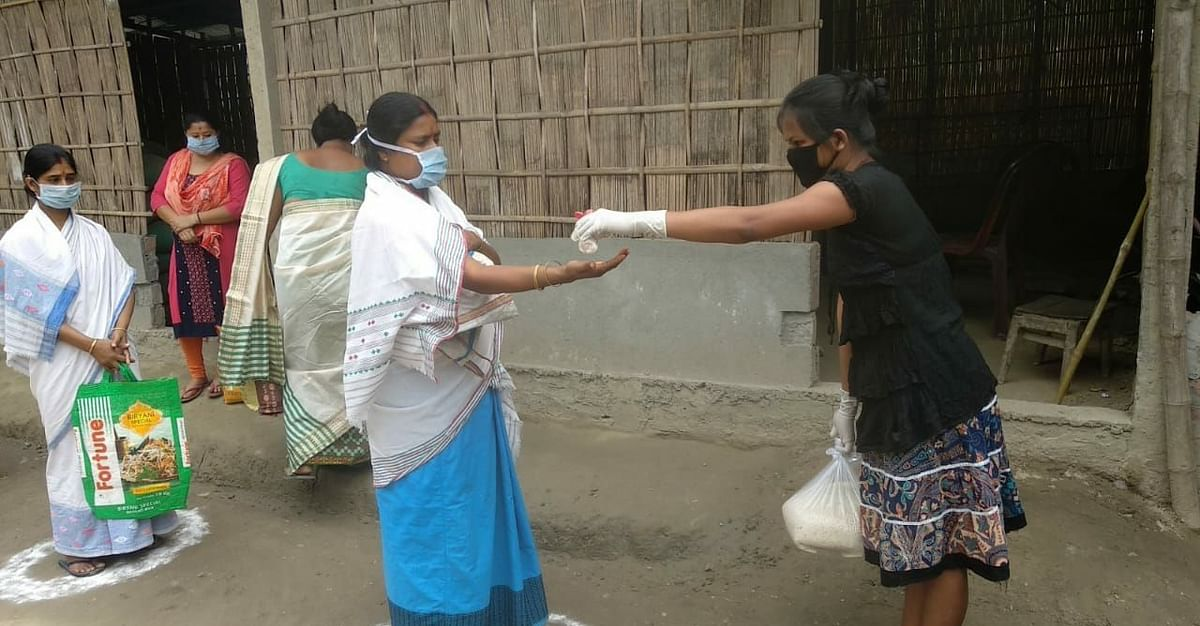 Along with ration kits, soaps, sanitary napkins were also distributed as well