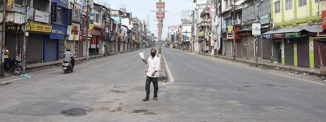 An empty street in Tripura during nationwide lockdown to control the spread of coronavirus in India