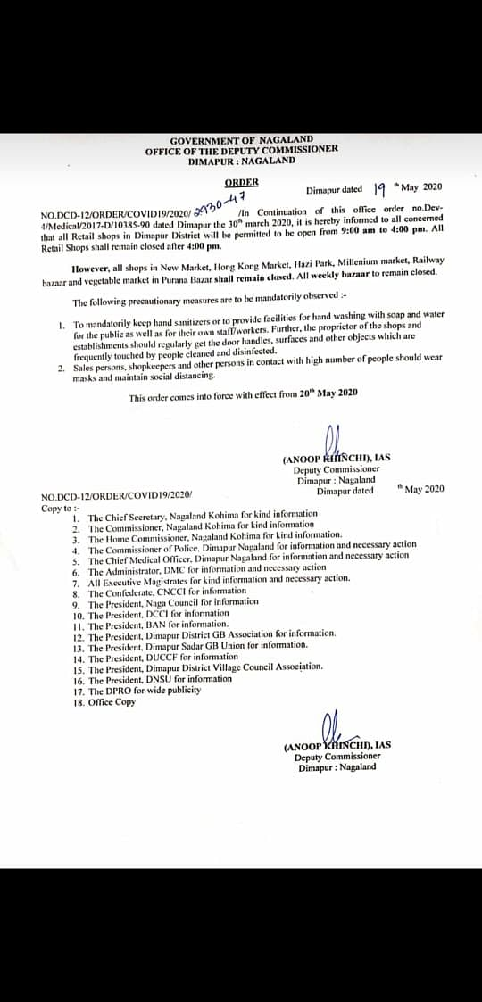 The order that was issued on Tuesday by the Deputy Commissioner Dimapur Nagaland