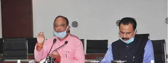 Assam forest minister Parimal Suklabaidya alog with state industry minister Chandra Mohan Patowary  address media persons in Guwahati on Saturday