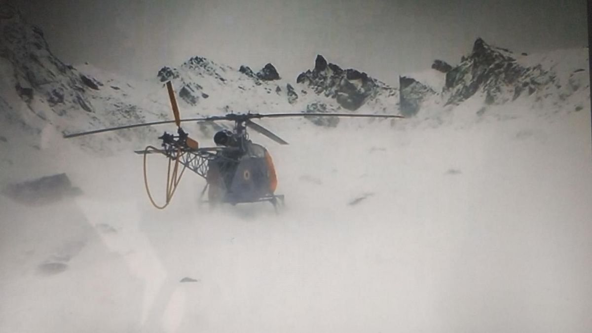 The men were stranded in the icy heights after an emergency landing by the IAF helicopter in a desolate and remote location