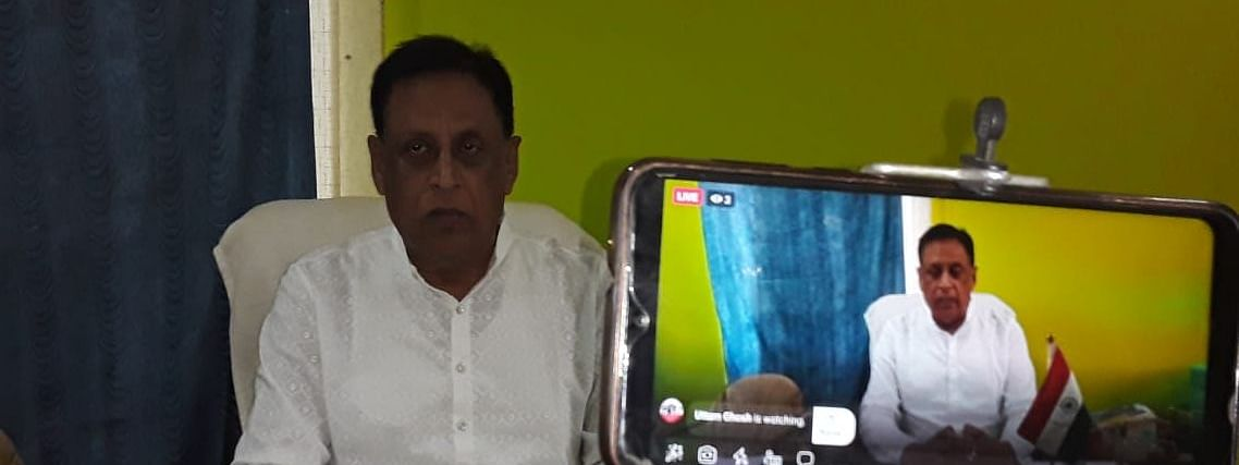 Tripura Pradesh Congress Committee chief Pijush Kanti Biswas taking part in online protest through Facebook on Thursday