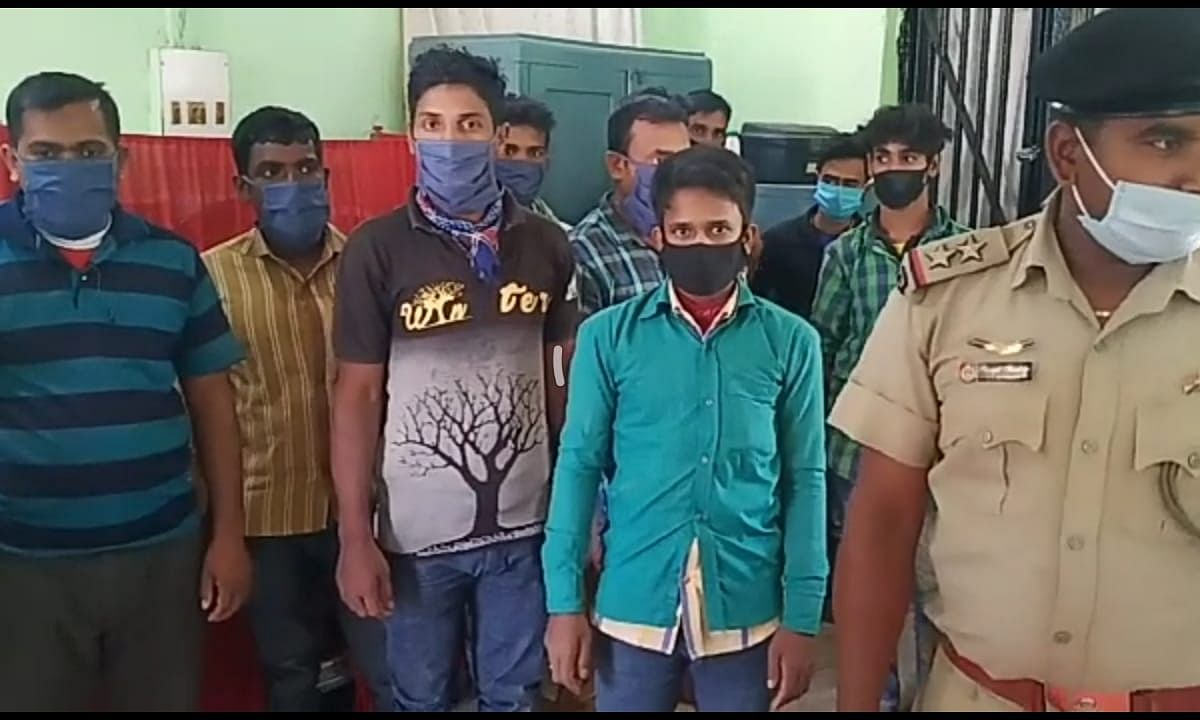 The arrested Bangladeshi youths in police custody
