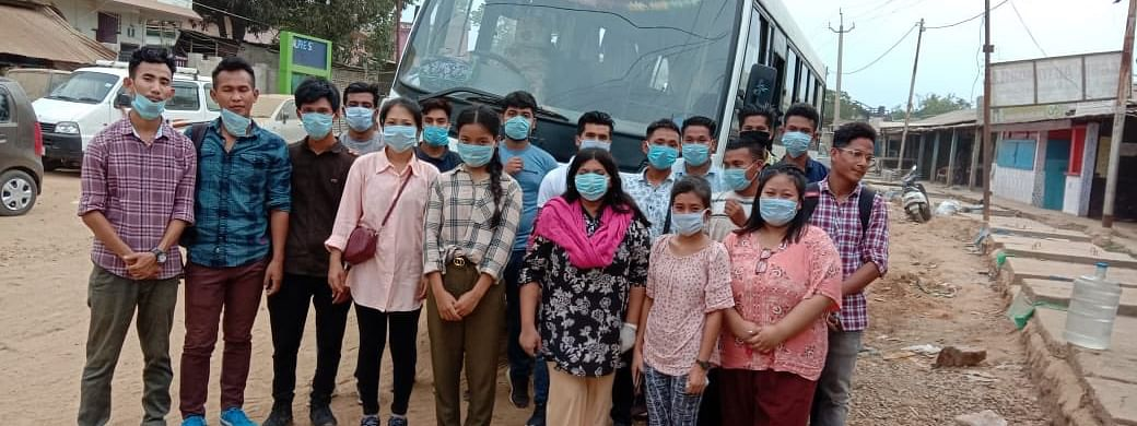 Students from Tripura who were stranded in Nagaland prepare to depart