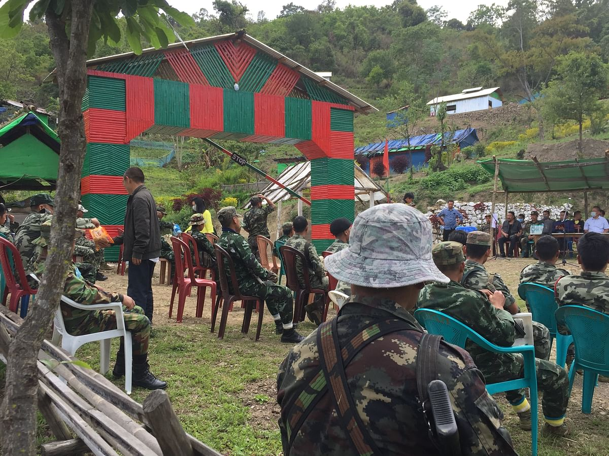 NSCN-IM cadres at the relief items distribution in Senapati district on Friday