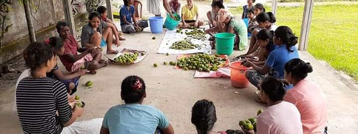Girls preparing organic pickles in Assam's Kokrajhar district