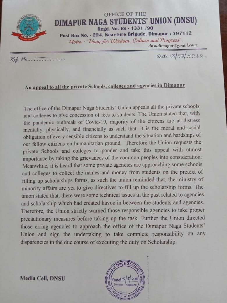 An appeal issued by the Dimapur Naga Students' Union on Sunday
