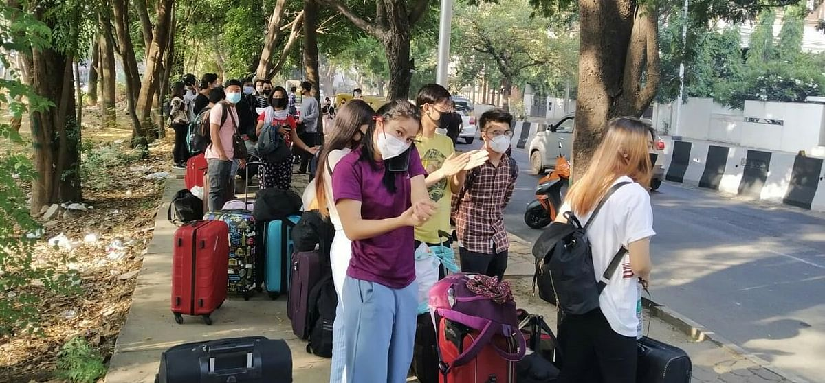 Stranded persons from Manipur waiting for screening at Bengaluru on Thursday