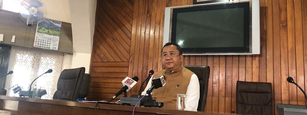Nagaland chief secretary Temjen Toy addressing the media on Monday at the Secretariat conference hall in Kohima