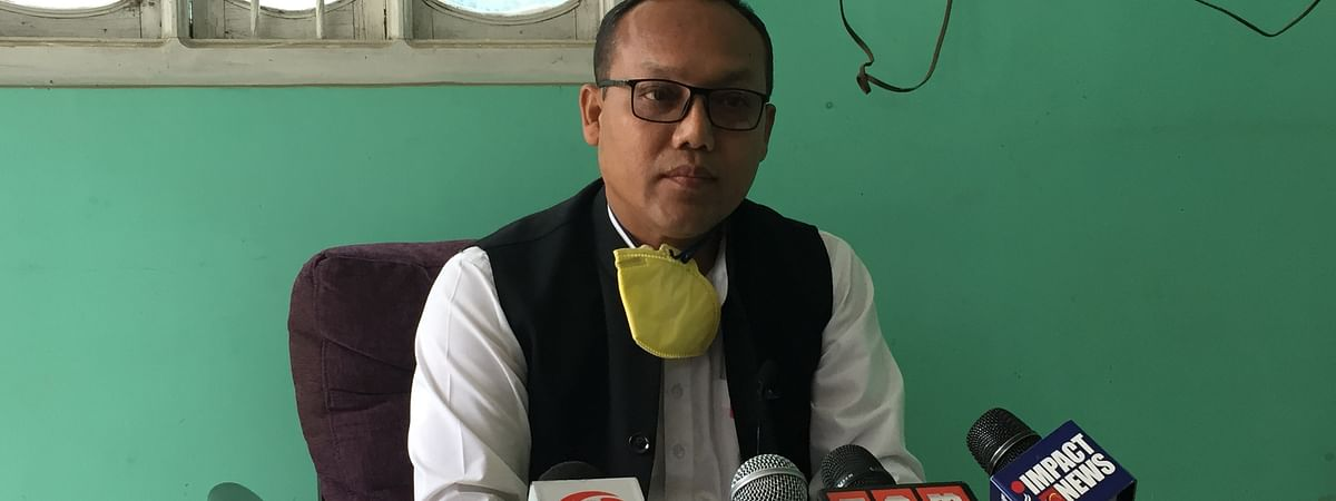 Wangkem Congress MLA K Meghachandra in a press conference in Imphal on Saturday