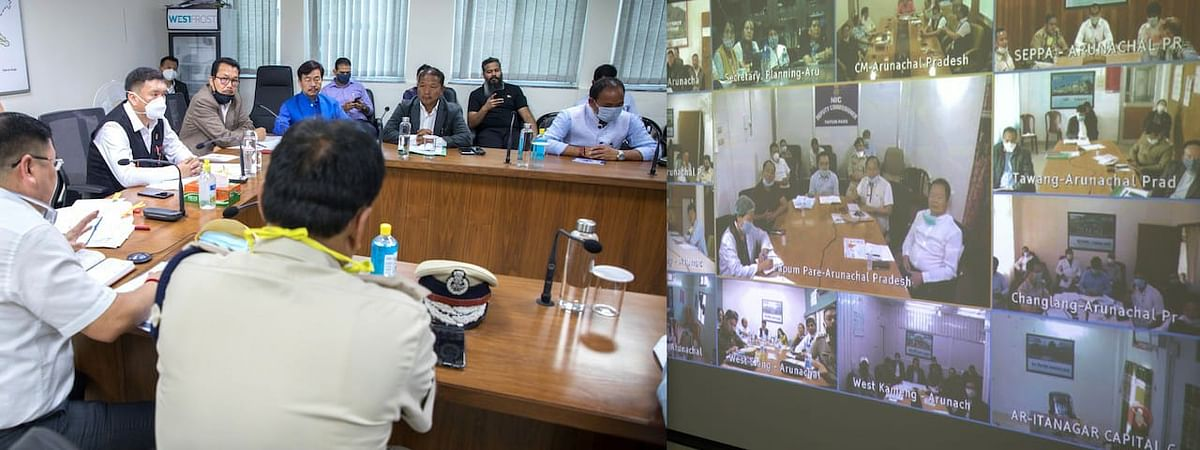 Arunachal Pradesh CM Pema Khandu speaking with ministers, MLAs, deputy commissioners, police officers and health professionals of all the districts through video conferencing