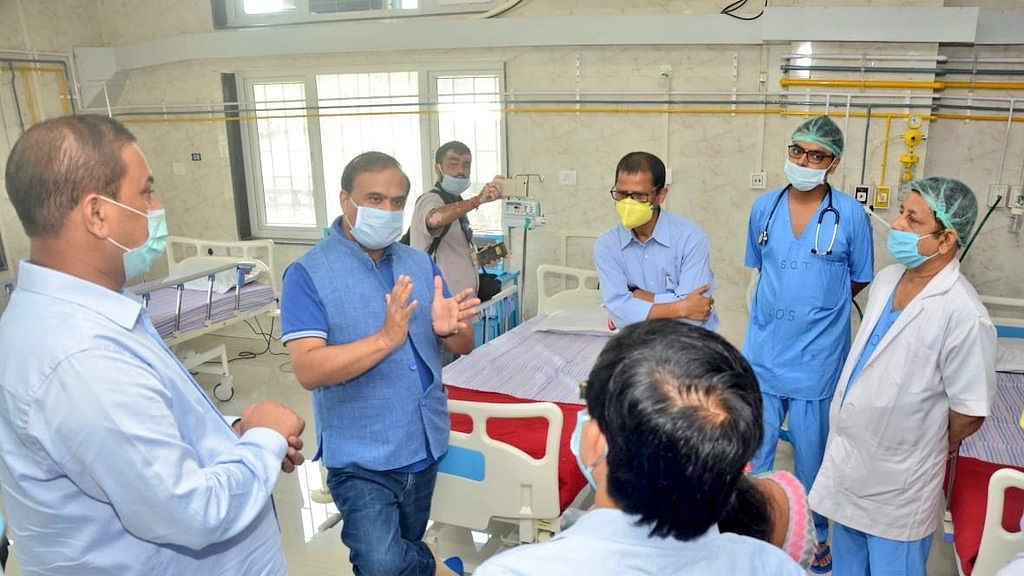 The health minister also interacted with medical teams at the hospital to take stock of the preparedness of the hospital to fight COVID-19