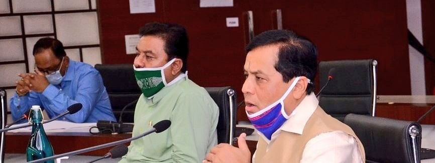 Assam chief minister Sarbananda Sonowal addressing media persons in Guwahati on Friday