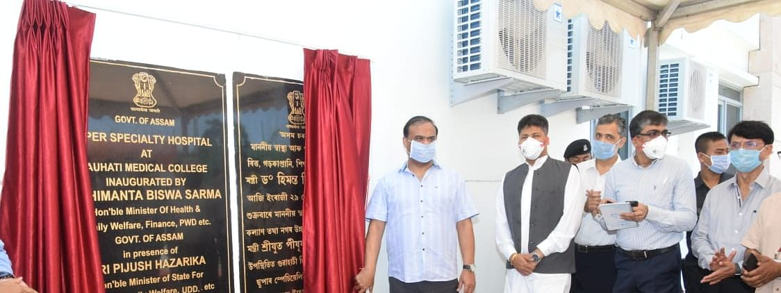 Health minister Himanta Biswa Sarma and minister of state (independent) health & family welfare Pijush Hazarika inaugurating the unit at GMCH on Friday morning